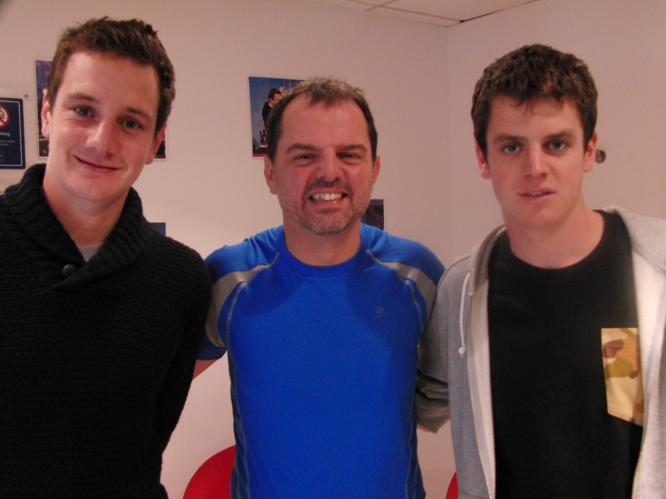 Stewart Heath with the triathlon Brownlee brothers on ITV1 Alan Titchmarsh Show